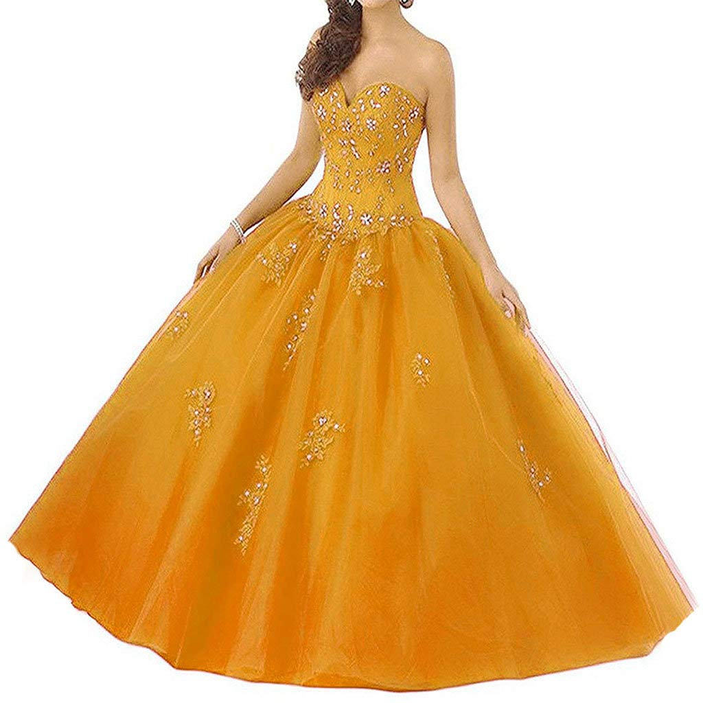 orange Vantexi Women's Sweetheart Ball Gown Tulle Quinceanera Dresses Prom Dress
