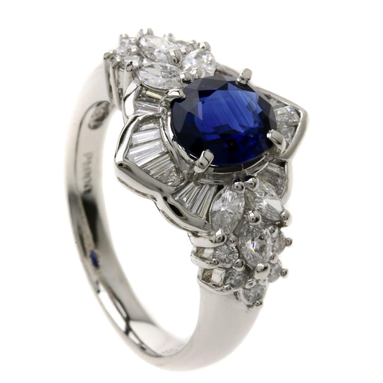 [セレクトジュエリー]ブルーサファイア/ダイヤモンド リング指輪 Pt900 レディース (中古) B07C5GZDQT
