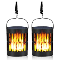 Deals on 2-Pack Ollivage Solar Flame Hanging Lantern Lights Auto Sensor
