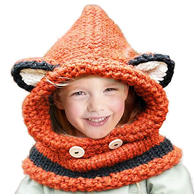 443d7a4b1ae Jhua Baby Kids Warm Winter Hat Crochet Knitted Caps Hood Scarves Skull Fox  Ear Bear