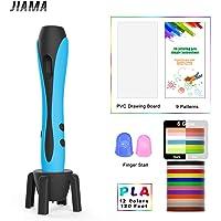 3D Stift mit LCD Display, Militärmotor, 2 Fingerlinge, 9 Papierschablonen, 12 Farben PLA, 1 Stifthalter/Kompatibel mit PLA & ABS Filamenten/JIAMA VT-B661