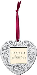 product image for Danforth - Victorian Heart Pewter Frame Ornament - Satin Ribbon - Handcrafted