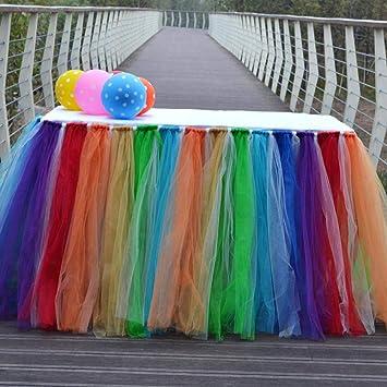 heresell - Falda de Mesa con tutú romántico de arcoíris para ...