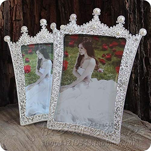 Picture Frame - 7inch Photo Frame Pearl Crown Glass Picture Frame Wedding Picture Frame Photo Frames for Picture XC001