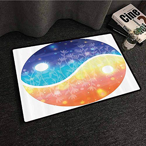 - Apartment Decor Modern Door mat Yin Yang Symbol with Lights Beams Harmony of The Universe Gradient Tone Theme Anti-Fading W31 xL47 Multi