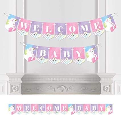 Unicorn Baby Shower Party Bunting Banner Magical Party Supplies Decoration