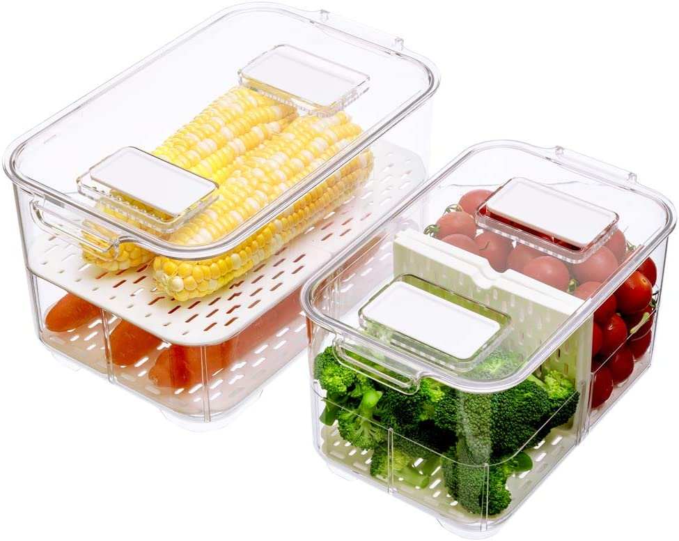 Fridge Produce Saver, 2 Tier Stackable Food Storage Containers with Lids, Removable Drain Tray Drawers Refrigerator Produce Keeper with Strainer for Veggie, Berry, Fruits, Vegetables 2 Pack
