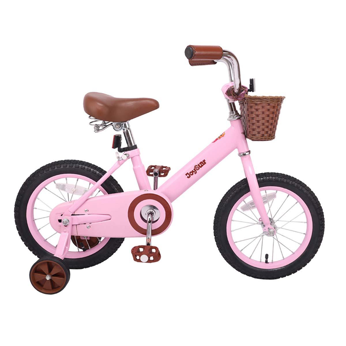 JOYSTAR 14 & 16 Inch Kids Bike with Basket & Training Wheels for 3-7 Years Old Girls & Boys (Beige & Pink) product image