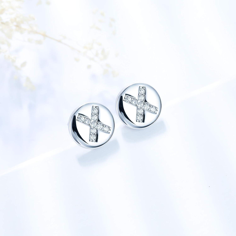 J.End/éar Buchstaben Ohrringe Stecker 925 Sterling Silber Damen Initialen A-Z Runde kleine Ohrstecker 8 8mm mit AAA Zirkonia