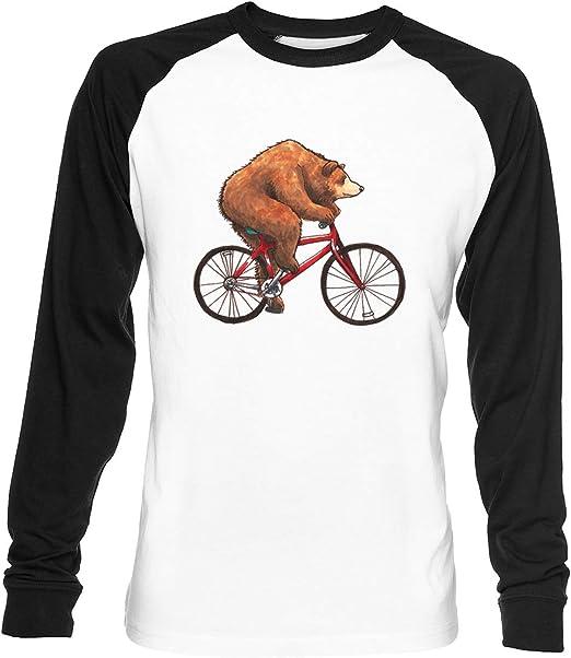 Oso En Una Bicicleta Unisex Blanca De Béisbol Camiseta Hombre ...