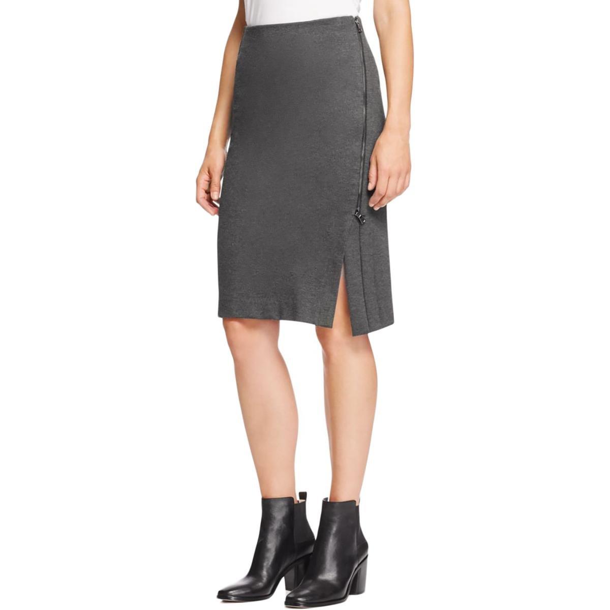 Three Dots Womens Asymmetrical Zip Slub Straight Skirt Gray M