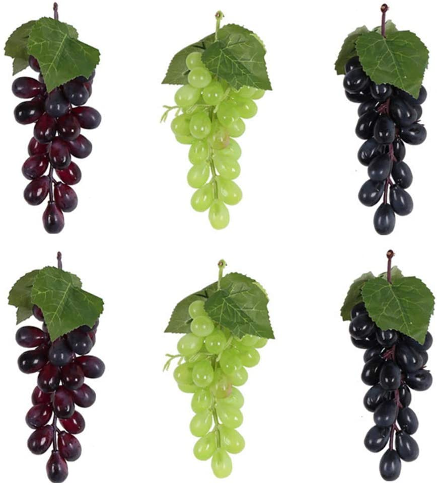 HYSTYLE 6 Bunches Artificial Grape Simulation Fake Grapes with Vines Lifelike Simulation Fruit Decorative for Wedding Wine Kitchen Party Pub Home Cabinet Ornament(24 kernels)