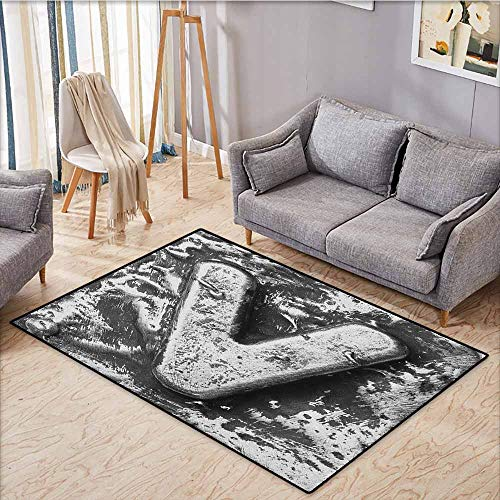Indoor/Outdoor Rug,Letter V,Capital V Old Fashioned Alphabet Symbolic Middle Name in Medieval Fashion Typography,Anti-Slip Doormat Footpad Machine Washable,4'11