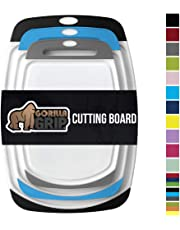 GORILLA GRIP Original Oversized Cutting Board, 3 Piece Set, for Kitchen, BPA Free, Easy Grip Handle, Dishwasher Safe, Non Porous, Boards are Extra Large and Thick, Juice Grooves