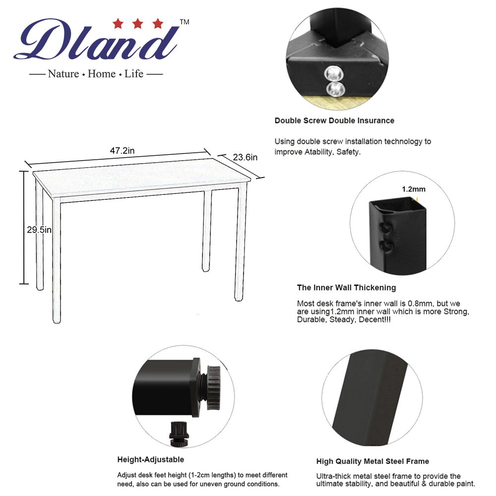 Dland 47'' Medium Computer Desk, Composite Wood Board, Decent & Steady Home Office Desk/ Workstation/ Table, BS1-120WW White & White Legs, 1 Pack by Dland (Image #2)