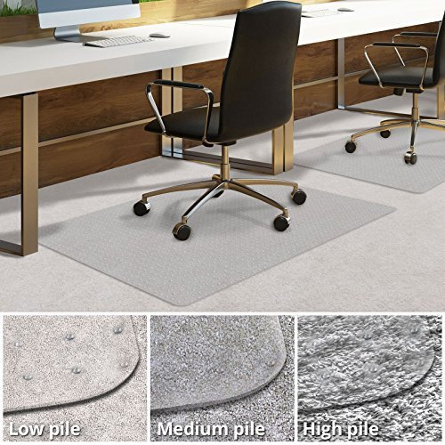 Office Chair Mat for Carpeted Floors | Desk Chair Mat for Carpet | Clear PVC mat in Different thicknesses and Sizes for Every Pile Type | Low-Pile 30''x48'' by Office Marshal