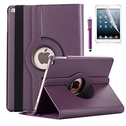 New iPad 9.7-inch 2018 2017 / iPad Air Case - AiSMei Rotating Stand Case Cover with Auto Wake Sleep for Apple iPad 9.7 (6th Gen, 5th Gen) / iPad Air 2013 Model, Bonus Stylus + Film - Purple