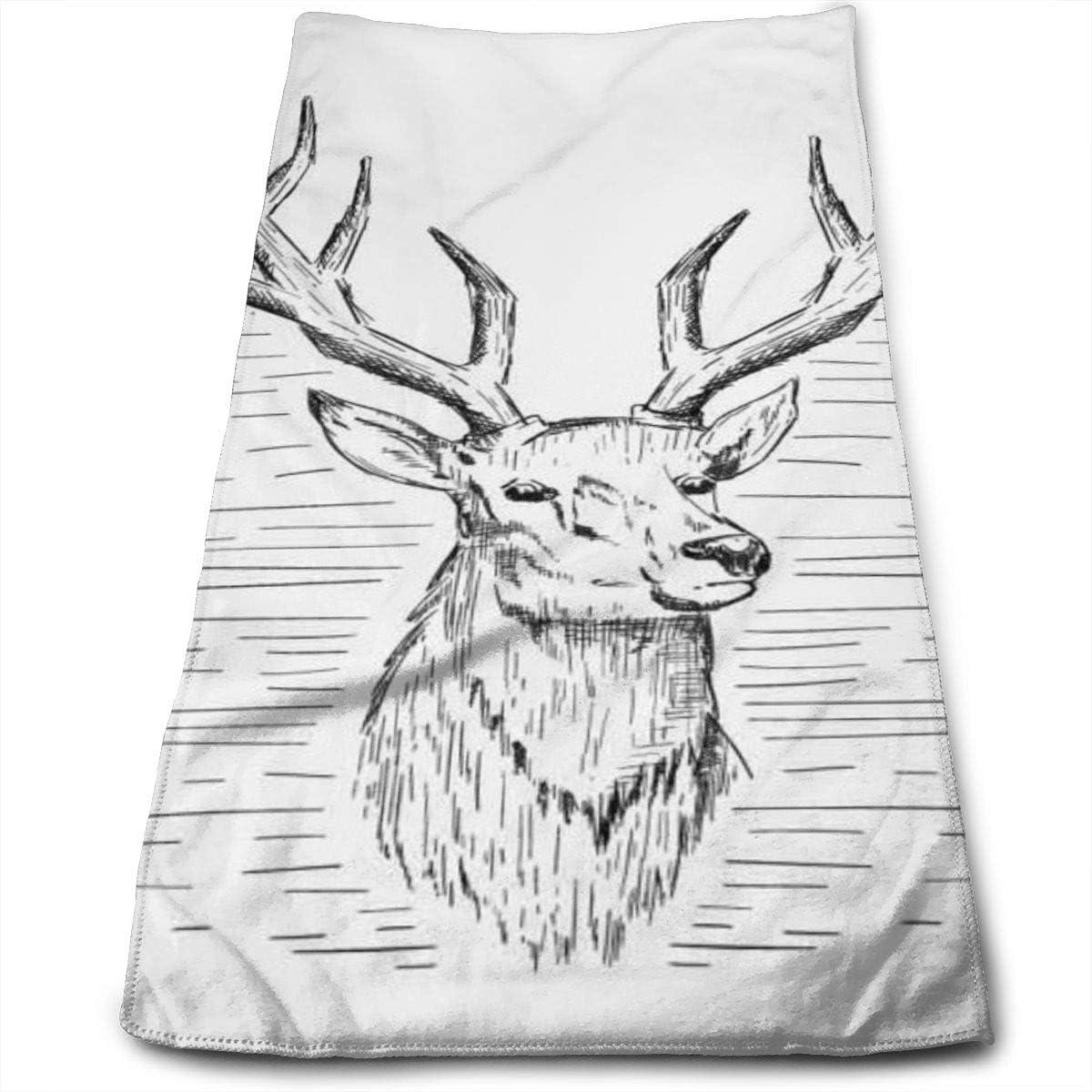 Dnwha Serviette en Polyester Super Douce pour Le Lavage du Visage et Les Cheveux Motif cerf