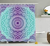 Ambesonne Purple and Turquoise Shower Curtain, Hippie Ombre Mandala Inner Peace and Meditation with Ornamental Art, Fabric Bathroom Decor Set with Hooks, 75 inches Long, Purple Aqua