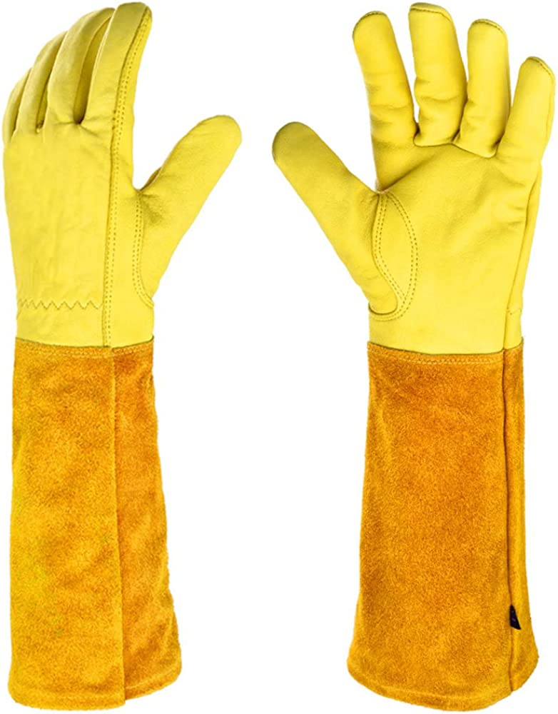 Gardening Gloves for Women - Thorn Proof Cowhide Leather Rose/Blackberry Pruning Long Forearm Protection Gauntlet, Work Garden Gloves