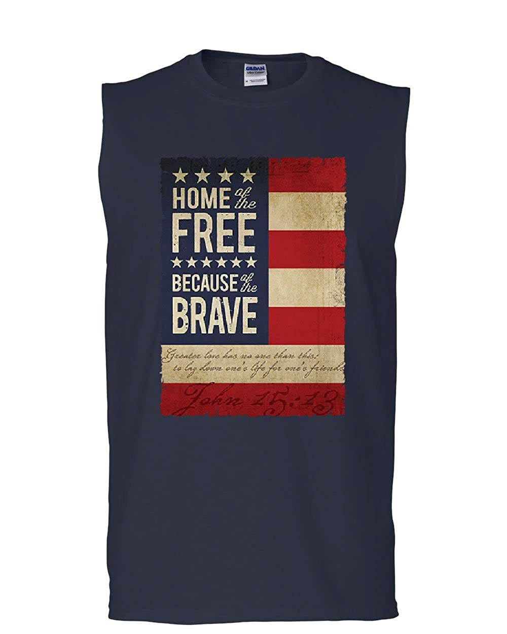 Home of The Free Muscle Shirt Stars and Stripes American Patriot USA Sleeveless