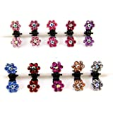 cuhair 10pcs Crystal Rhinestone Assorted Bangs Mini Hair Claw Clip Hair Pin Flower Accessories for Girl Women Baby Mix Colored by cuhair