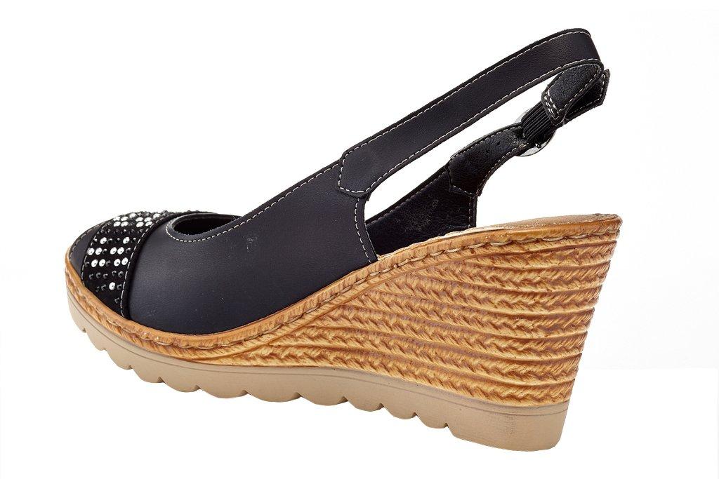 Lady Godiva Women's Open Toe Wedge Sandals Multiple Styles B079YX32VC 8 B(M) US Black - 5170