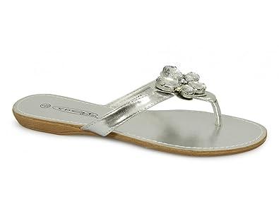 963a36b54fb999 Spot On Laila Ladies Slip On Brooch Sandals Silver  Amazon.co.uk ...