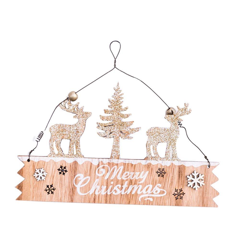 Lovewe Christmas Elk Wood Plate,Hollow Door Hanging,Wooden Pendant,Xmas Ornaments Decor (E)