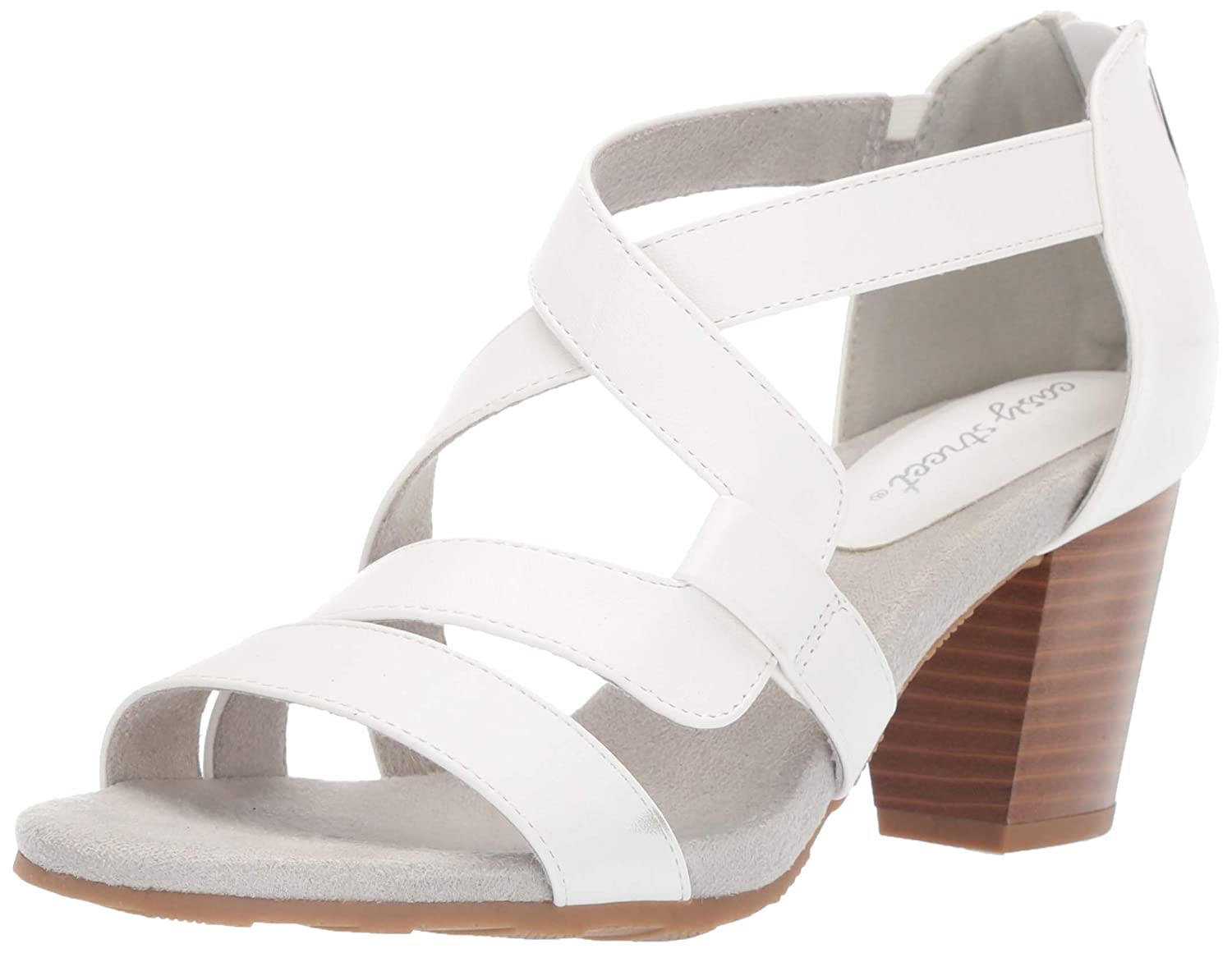 White Easy Street Womens Amuse Dress Casual Sandal with Back Zipper Heeled Sandal