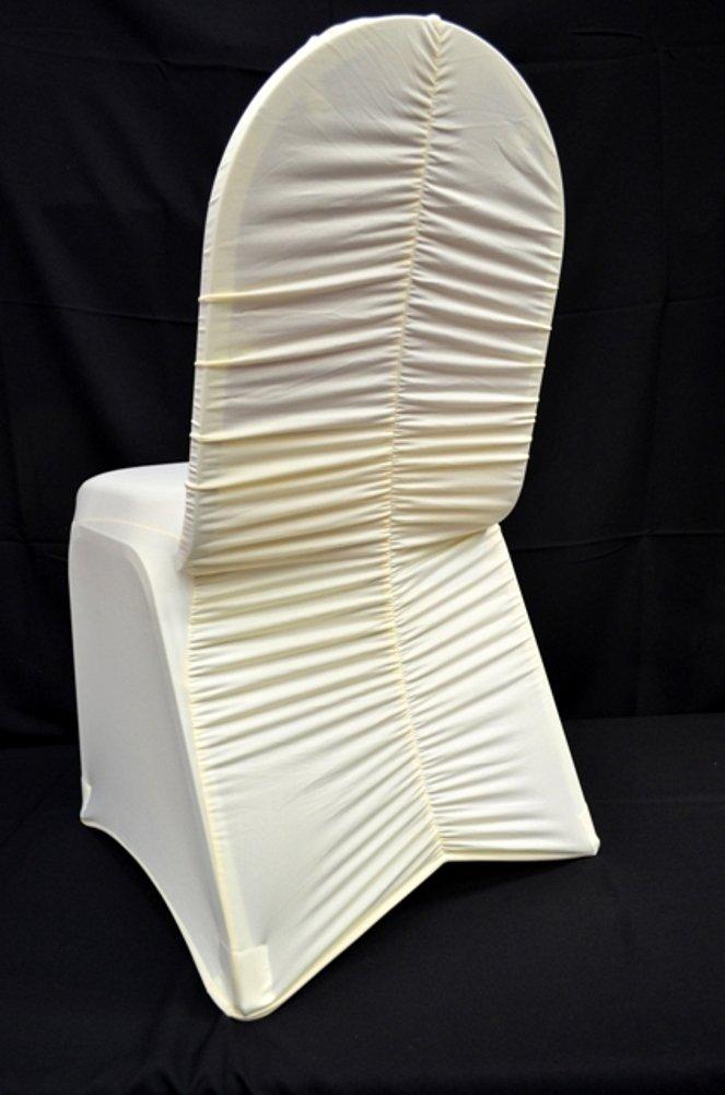 10個アイボリーMilan Back Ruched宴会スパンデックス椅子カバー   B0167ZMEDM