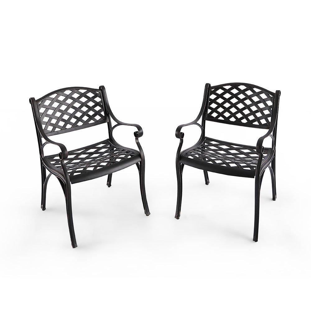 Nuu Garden Outdoor Furniture Solid Cast Aluminum Patio Conversation Dining Arm Chair CD002, Antique Bronze (Set of 2)