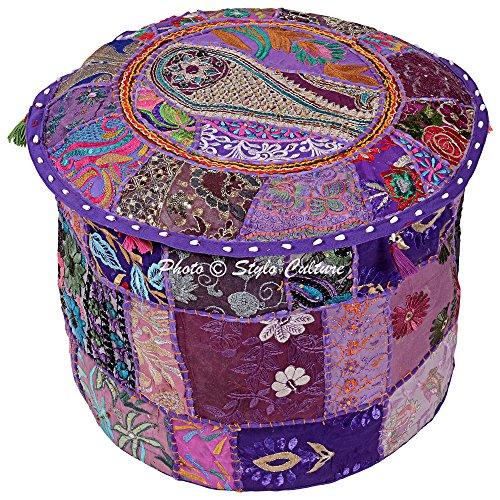 Stylo Culture Cotton Fabric Pouf Patchwork Embroidered Ottoman Stool Pouf Pouffe Cover Purple Floral Ottoman Furniture Indian Ethnic Decor (Pouf Ottoman Purple)