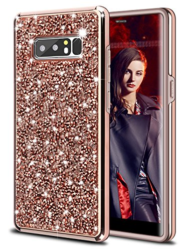Galaxy Note 8 Case,HoneyAKE Note 8 case Glitter Bling Rhinestone Sparkle Diamond Hybrid Hard Cover Crystal Heavy duty Shockproof Bumper Protective phone case for Samsung Galaxy Note 8(Champagne)