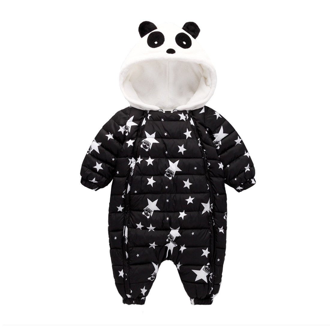 GWELL Baby Overall Panda Sterne Winter Flanell gefüttert Strampler Jumpsuit mit Kapuze Spielanzug Tierkostüm Tieroutfit für Jungen Mädchen Farbe Größe wählbar