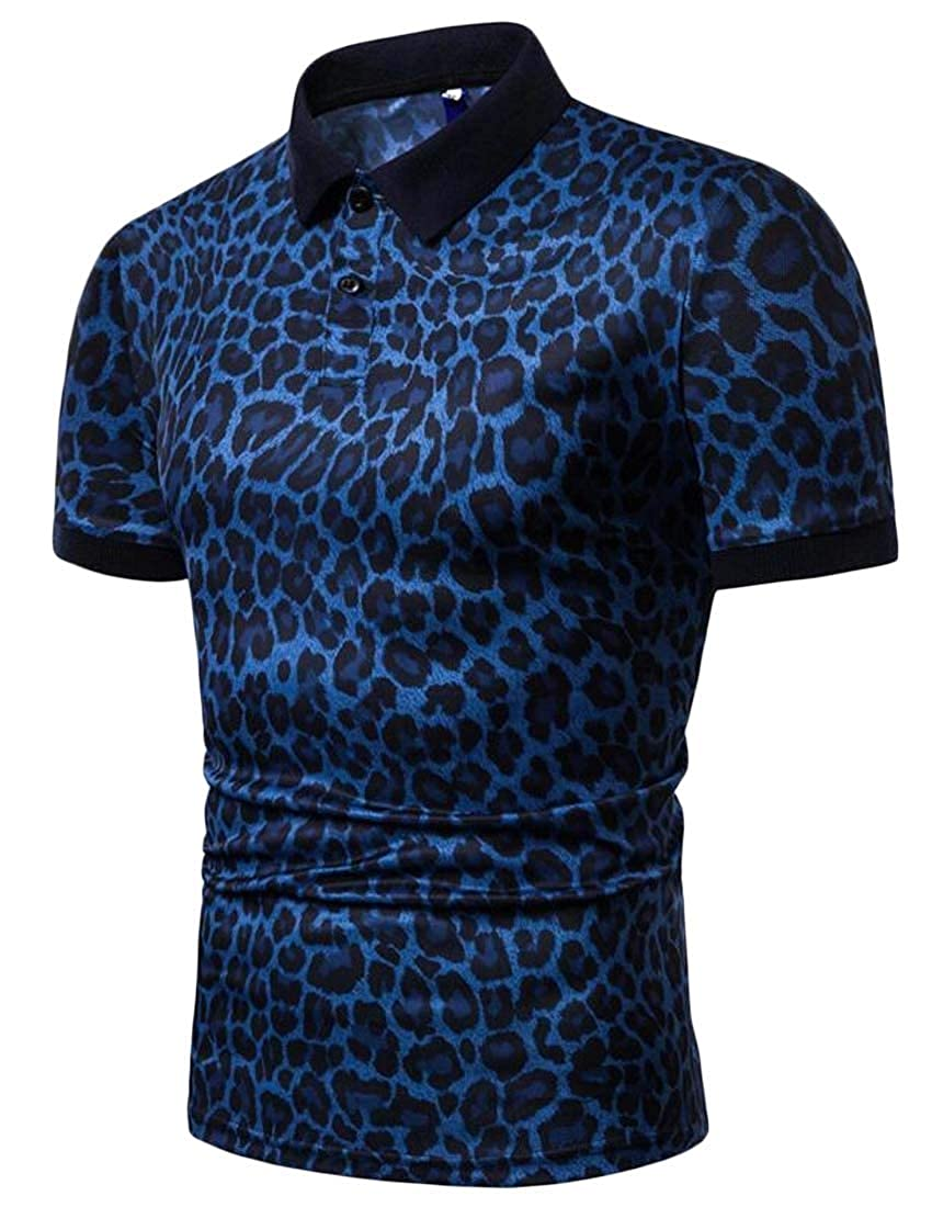 GAGA Mens Casual Polo Shirt Short Sleeve Leopard Printed Slim Fit T Shirt Tops
