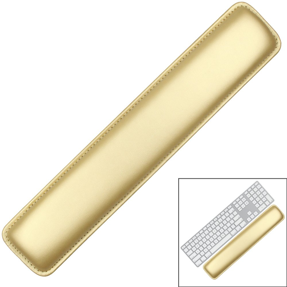 Keyboard Wrist Rest Pad,Soft PU Leather Wrist Support with Interior Soft Cushion Foam for Office/Computer/Laptops/MacBooks,Easy Typing & Pain Relief,16.5'' Gold by Tofun