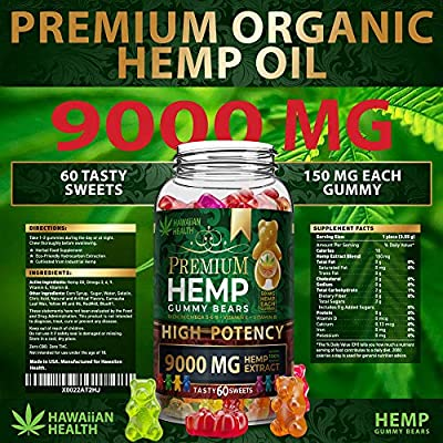 Hemp Gummies Premium 9000MG High Potency - 150 Per Fruity Gummy Bear with  Hemp Oil | Natural Hemp Candy Supplements for Pain, Anxiety, Stress &