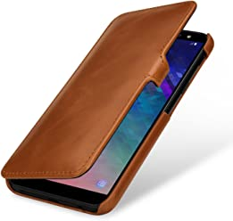 StilGut Book Type Case, Custodia per Samsung Galaxy A6 2018 a Libro Booklet in Vera Pelle, Cognac con Clip
