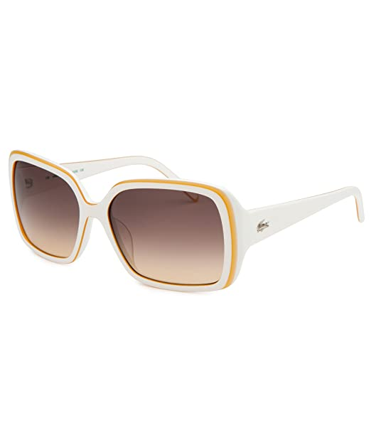 Lacoste Gafas de Sol L623S (56 mm) Blanco/Amarillo: Amazon ...