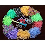 Specialty Loom Band Refill Kit - 3600 Quality Bands - Stripes, Neon, Glow in the Dark - Designer Colors and Styles - Latex/Lead Free - 12 Bonus Charms -3 Hooks- 180 S & C Clips  Compatible & with Other Children's Arts & Crafts Jewelry Making Kits- Create Fun Friendship Bracelets!
