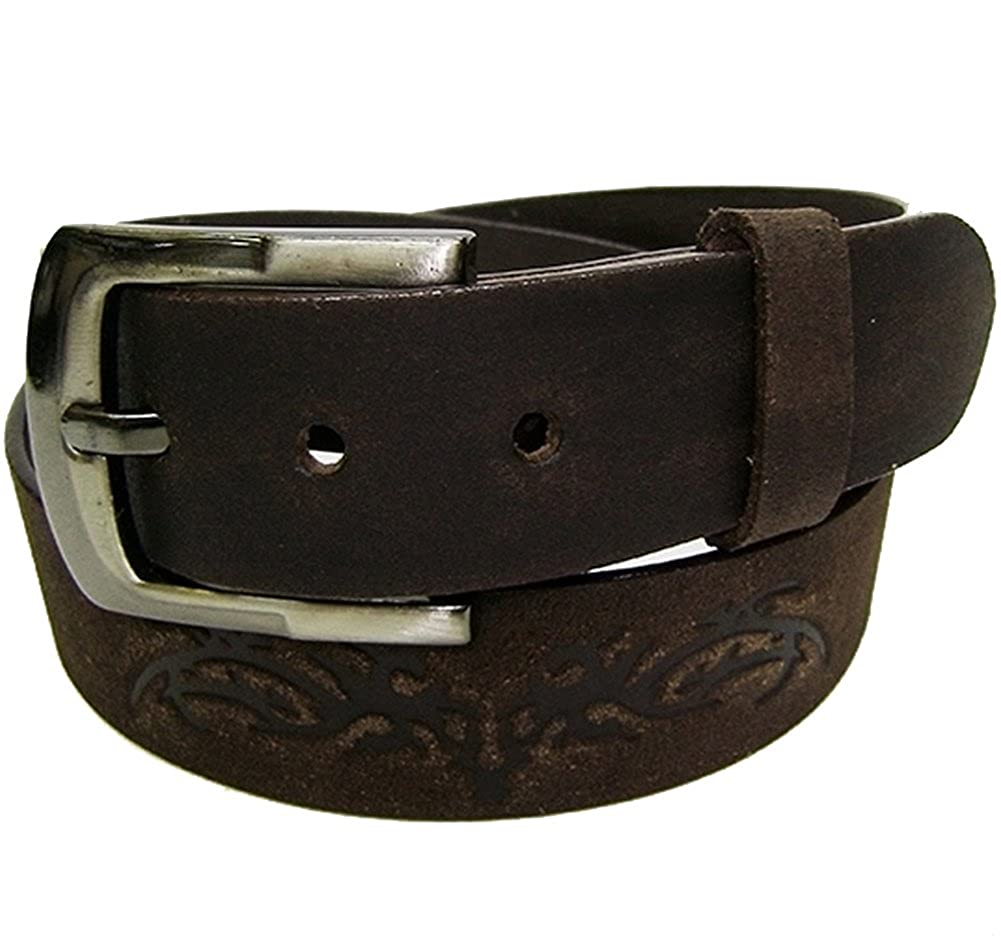 Modestone Western Embossed Leather Belt 1.5 Width 1//8 Thick Brown