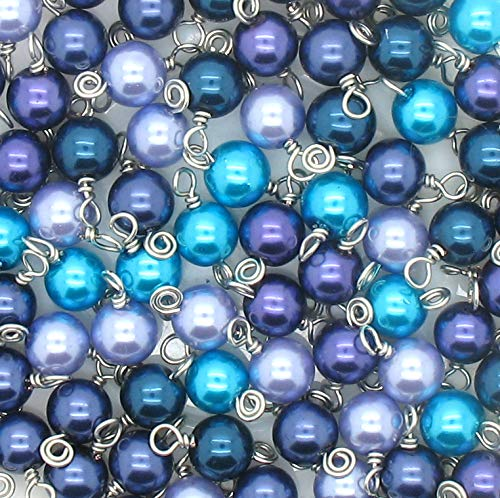 30 Glass Pearl Bead Charms - 8mm Wire-Wrapped Bead Dangles - Dangle Charms in Purple Blue Aqua - Set 5 ()
