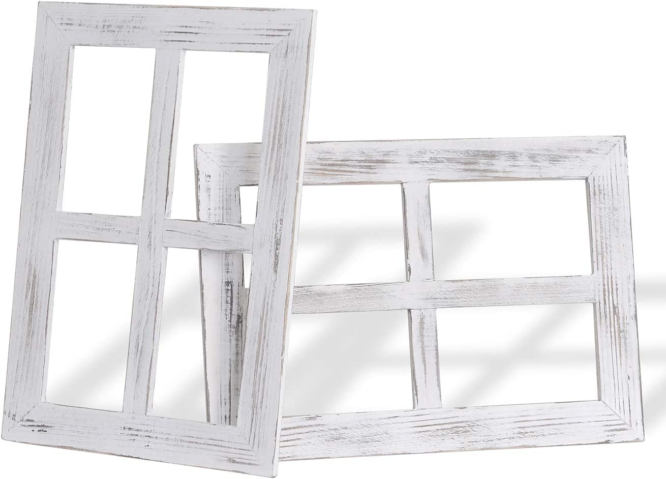 Rustic Wall Decor Window Frame, Farmhouse Wood 4 Pane Antique Wall Mounted Signs, Window Frame Home Rustic Room Decor, 2 Pack, White