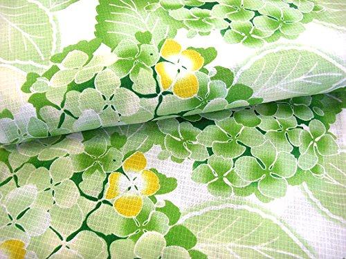 着物美人女性用浴衣ゆかた綿紅梅変り織り大人MFL【白緑紫陽花】a416012-2