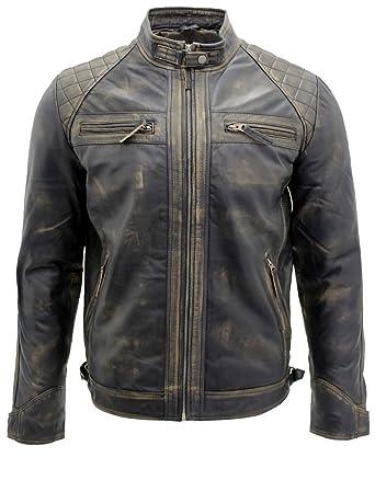 Men's Vintage Black Leather Racing Biker Jacket: Amazon.ca ...