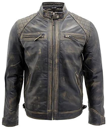 Men S Vintage Black Leather Racing Biker Jacket At Amazon Men S