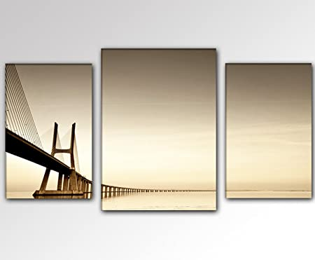 Art Print on Canvas and Stretcher Frame / 3-Part Wall Picture XXL 30 ...