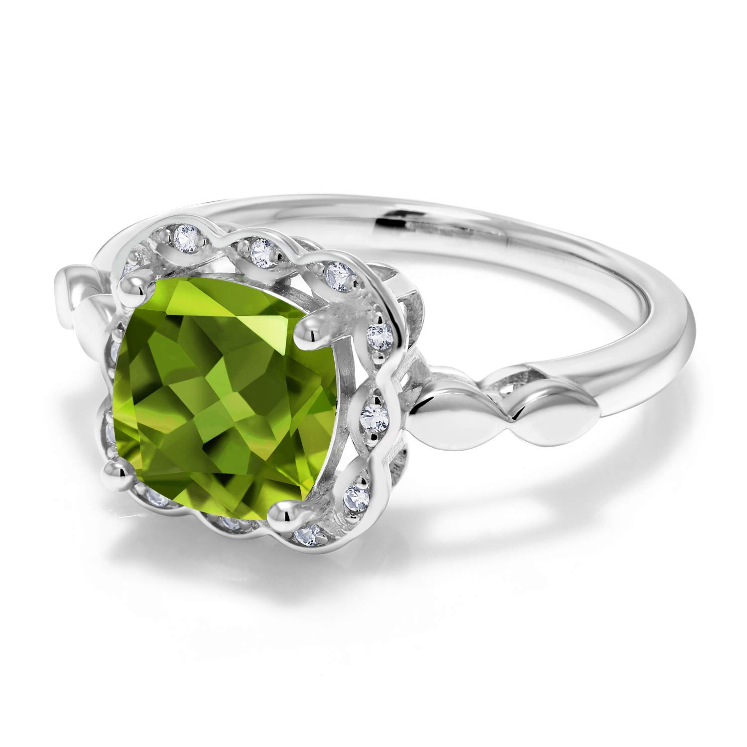 Gem Stone King 925 Sterling Silver Green Peridot and White Created Sapphire Women s Ring 2.55 Ct Cushion Cut Available in size 5, 6, 7, 8, 9