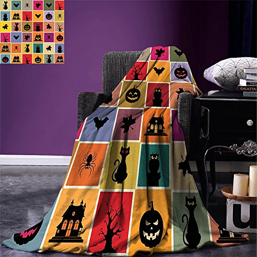 smallbeefly Vintage Halloween Throw Blanket Bats Cats Owls Haunted Houses in Squraes Halloween Themed Darwing Art Warm Microfiber All Season Blanket for Bed or Couch Multicolor -